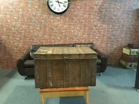 Late 19th Century tin steamer trunk chest of square form