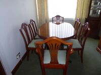 New Yew dining table 6 chairs, sideboard, corner unit, nest of tables, magazine rack, hifi unit p