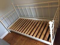 Ikea Cream Metal Day Bed with Mattress