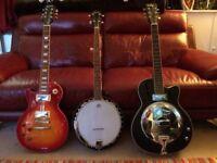 Banjo,Resonator and Les Paul Guitar(standard left hand)