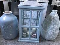 Next lantern and vases