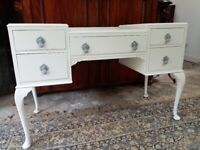 Vintage Dressing table. Bedroom / Girls room. French style. Shabby chic Dove Grey. Upcycled.