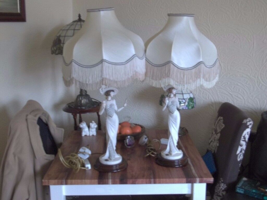 pair of large stunning signed italian lamps