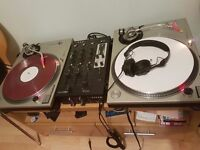 Technics 1200s, Ecler mixer, Mackie speakers, Sennheiser HD 25s