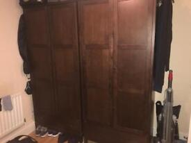 Hard wood wardrobe and chest of draws