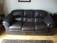Leather 3 Seat Sofa Dark Brown