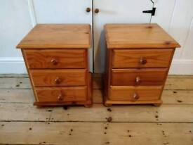 £55 pair of pine bedside cabinets farmhouse shabby chic