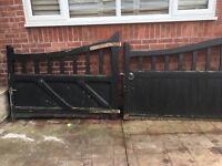 2 sets of Hardwood wooden gates and fence panels