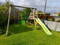 Outdoor triple swing and chute