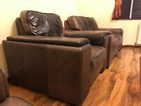 Genuine Leather Italian sofa set- 3 seater + 2 seater + single armchair