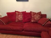 FREE Red sofa set of 2. 4 and 3 seater. Great condition. Needs to be gone by Saturday 21/10.