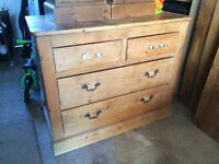 Solid old pine chest of drawers