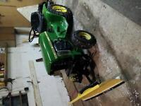 John Deere 112 tractor with plow and mower,$1100, obo