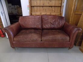 Beautiful Brown Leather Derwent Westbury Parker Knoll 3 Seater Sofa