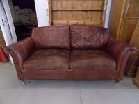 Beautiful Brown Leather Derwent Westbury Parker Knoll 3 Seater Sofa