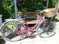 ladies pink raleigh caprice 19 inch frame bike with basketand lock