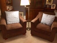 2 Brown Cord Fabric Armchairs