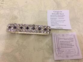 Triple Row Garnet & Crystal Stretch bracelet