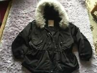 ladies black fur coat jacket Size S- wear size 8/10 Used one time Black £8