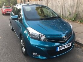 TOYOTA YARIS 2014 blue 5 door 1.3 automatic petrol stunning low mileage !!!