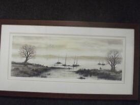 Lovely Original Signed Artwork Beautiful Rural Waterscape Nicely Framed