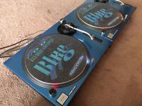 "2 X Technics SL-1210 MK2 Turntable With Custom Blue Candy ""Technics"" Covers"
