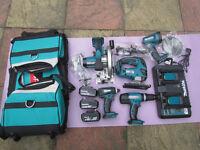 makita 18v lion 5 piece combo kit,3 x batteries 4.0 ah.bag,double charger