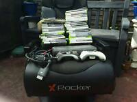 XBOX 360 with wireless controllers 34 games and xbox rocker chair