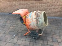 Bell 150 mixer in good condition 240 v with stand and wheel barrow