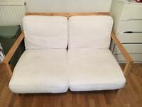 Small 2 seater sofa with wooden frame for SALE