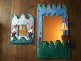 Large and small one of a kind, unique artist papier maché mirrors