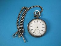 Victorian silver open-faced pocket watch with white enamel dial