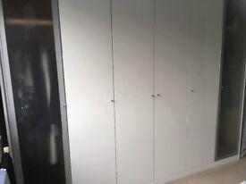 Large immaculate white gloss wardrobe