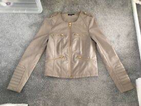Beige leather jacket m&s