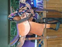 "16"" purple seat western saddle"