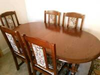 Dining Room Table and Chairs - Solid Oak
