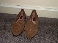 Brown women's size 3 REAL SUEDE loafers Topshop