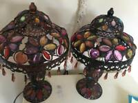Two matching Moroccan style purple/table lamps