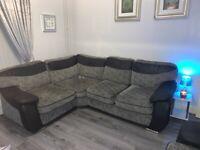 Grey, black & chrome corner sofa + 2 seater