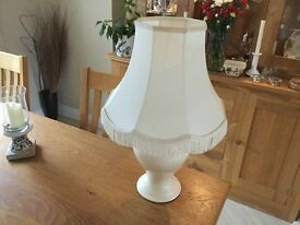 Cream table lamp with matching silk shade