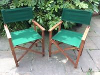 Pair of folding teak directors chairs in very good condition