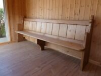 Late Victorian, pitch pine, free-standing, church pew
