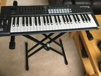 Novation 49 with stand, pedal, all leads