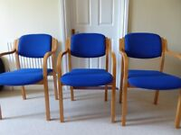 Wood Frame, Padded Stacking chairs with arms
