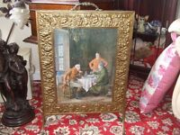 Antique Embossed Brass Firescreen with Antique framed old picture