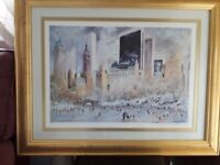 Central Park Winter Skating scene Limited Edition print by K. Kubic 1981