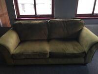 Green velvet sofa - 4 seater