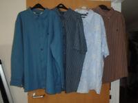 4 GENTS BRAND NEW SHIRTS, 1 BLUE LONG SLEEVE FLEECE LINED 3XL, 3 SHORT SLEEVE, 1 XL, 1 2XL, 1 3XL