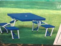 Camping picnic folding table with 4 stools