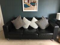 Black Leather Sofa - 3 Seater & 2x 1 Seater